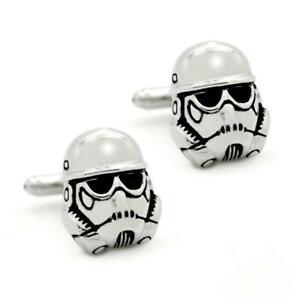 STORMTROOPER CUFFLINKS Star Wars Sci Fi Fan 3D Helmet Silver Metal with Gift Bag