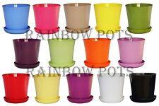 Decor Flower Pots Wedding  14 Colours Gloss Plastic Plant Pots Planter + Saucer