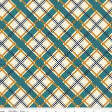 Keepin on Groovin Fabric - Cream Plaid - Riley Blake Fabric - Half yard