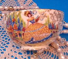 EMPIRE CRINOLINE LADY Sugar Bowl GOLD CHINTZ OPEN SUGAR BOWL - Rare Circa 1940s