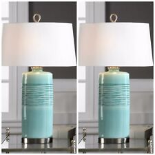 "PAIR RILA 32"" OVAL COLUMN CERAMIC AGED TEAL FINISH TABLE LAMP UTTERMOST"