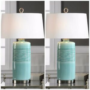 "TWO 32"" OVAL COLUMN CERAMIC RICH AGED TEAL FINISH TABLE LAMP LINEN SHADE LIGHT"
