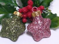 Mercury Glass Christmas Ornament STARS 2 Feather Tree GOLD Caps Green Pink Red