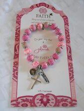 NEW JILZARA Clay Beads FAITH CROSS CHARM PINK Petite 8mm Bracelet