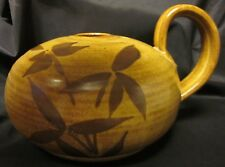 """ART POTTERY STUDIO HANDCRAFTED SIGNED Vase Oil Lamp DP Ixote Fish Bamboo 7.75"""""""