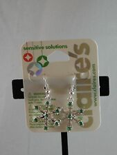Claire's Sensitive Solutions Holiday Emerald Snowflake  Earrings USA SELLER