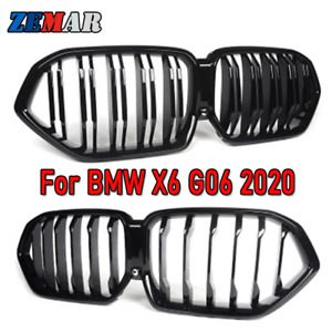 Gloss Black Front Bumper Racing Grill Kidney Grille for BMW X6 G06 19-20 M Power