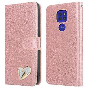 For Motorola Moto G9 Play Phone Case Shiny Leather Glitter Flip Wallet Cover