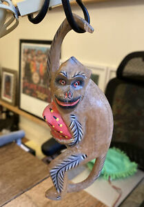 CARVED HANGING WOODEN MONKEY