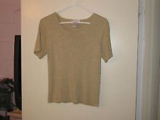 Ladies Draper's & Damon's Beige with Gold Glitter Blouse (M)