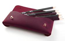 women Cosmetic storage bag Makeup box dress pencil case cow Leather purple z711
