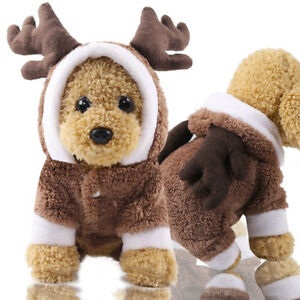 Warm Small Pet Dog Clothes Christmas Elk Costume Hoodie Coat Winter Clothing