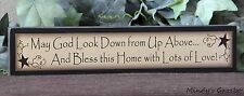 PRIMITIVE COUNTRY WOOD BLESS THIS HOME BLOCK SIGN HANDMADE HOME DECOR 0219