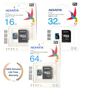 ADATA 16/32/64GB MicroSD Memory Card Mobile Phone UHS-I Class 10 With SD ADAPTER