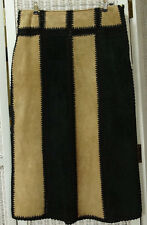 "WALLIS Suede Midi Skirt 34"" Waist UK14 Crochet Patchwork Pencil Skirt Black Tan"