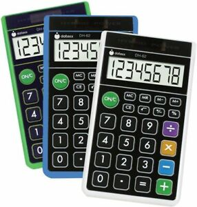 DATEXX - DH-62 Hybrid Wallet Style Calculator Assorted Colors - 1 Calculator