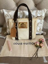 Authentic Louis Vuitton Small Antigua Tote Bag Cabas PM Beiges Brown CHIC! 🌸🌸