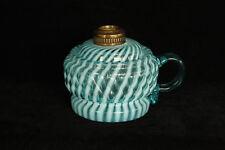 ANTIQUE BLUE OPALESCENT GLASS FINGER SHELDON SWIRL OR MARKHAM OIL LAMP EAPG