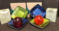 PartyLite Set of 4 NEW MIST CANDLE TRAYS P7478  W/  2 Auroraglow Ball Candles