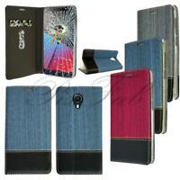 For Vodafone Smart N9 Lite New Denim Leather Wallet Phone Case + Screen Glass