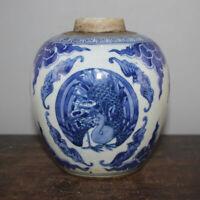 Antique China Old Porcelain Blue and White Phoenix Vase Jar tank