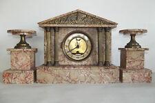 04B64 antik Uhr Tempel griechisch Marmor rosa / Bronze gold- Napoleon III XIX