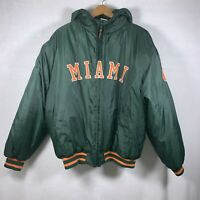 MIAMI HURRICANES Russell Hooded Insulated Puffy Pullover Jacket Coat L Rare Find