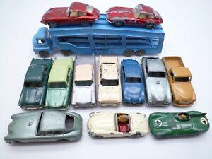VINTAGE MOKO LESNEY A2 TRANSPORTER & 12 CARS: JAGUAR FORD AUSTIN ASTON 1950/60s