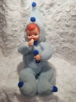 Vintage Blue Plush Rubber Face Doll With Bottle 1960s Rare Awesome Condition 22""
