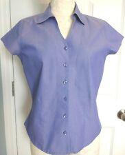 Coldwater Creek Petite S PS Short Sleeve Fitted Blouse 100% Cotton Lt Blue EUC