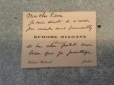 """""""B""""Ancienne carte de visite eudore misonne, avocat, jurbise"""