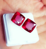 Loose Gemstone Natural Ruby 8 to 10 Ct Certified Cushion Shape Gems Pair