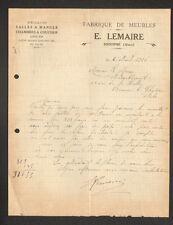 "SISSONNE (02)  MENUISERIE ,MEUBLES en CHENE MASSIF Louis XVI ""E. LEMAIRE"" 1926"