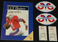1980's MONTREAL CONCORDES CFL FOOTBALL PROGRAM + 2 STICKER + 2 TICKET - ORIGINAL