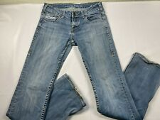 Cowgirl Tuff Jeans 29 (28) x 35 (33) Stretch Blue Denim Medium Distressed