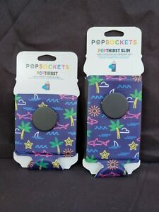 PopSockets PopThirst Regular & Slim Can Sleeve Neon Tropical Sharks Palm Trees