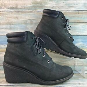Timberland Earthkeepers Amston Black Ankle Boot Leather Wedge Heel Lace Up 10M