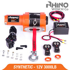 More details for 12v electric winch - 3000lb dyneema rope - atv, off road, 4x4 recovery ~ rhino