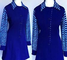 Vintage 60s 70s Mod Soul del norte Azul Vestido De Scooter Estampado Psicodélico M-L UK 14