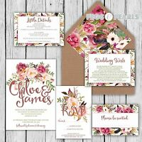 Personalised Luxury Rustic Wedding Invitations MULBERRY FLORAL packs of 10