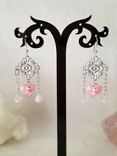Pink Ribbon Breast Cancer Support Sterling Silver Chandelier Charm Earrings