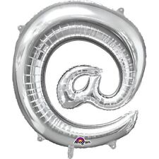 "Symbol @ Silver Foil Balloon 16"" 40cm Air Fill Age Name Birthday Anniversary"