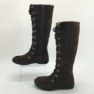 Timberland Knee-High Lace Up Boots Womens 7.5 M Brown Suede Faux Fur Moc Toe