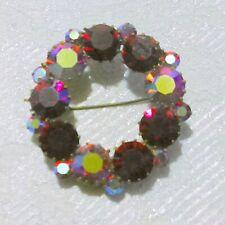 Vintage STAR Red Pink Aurora Borealis Rhinestone Circle Brooch Pin
