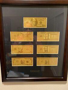 USA Gold Foil Dollars Demo Presentation in Wooden Frame