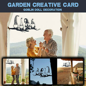 Steel Branch Gnomes Decoration Metal Tree Art Metal Gnomes Garden Creative Card
