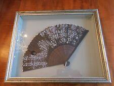 VINTAGE JAPANESE FAN DOUBLE PAPER LEAVES & WOODEN GUARDSTICKS/SILK TAFFETA  BKGD