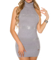 MAXI PULL GRIS maillot femme sans manches col haut elegant strass mariage A12