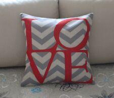 Red Love Grey Zig Zag Cotton Linen Throw Pillow Cushion Cover Home Decor Z501
