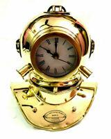 Antique Nautical Shinny Brass Divers Diving Helmet Clock Vintage Desk Decorative